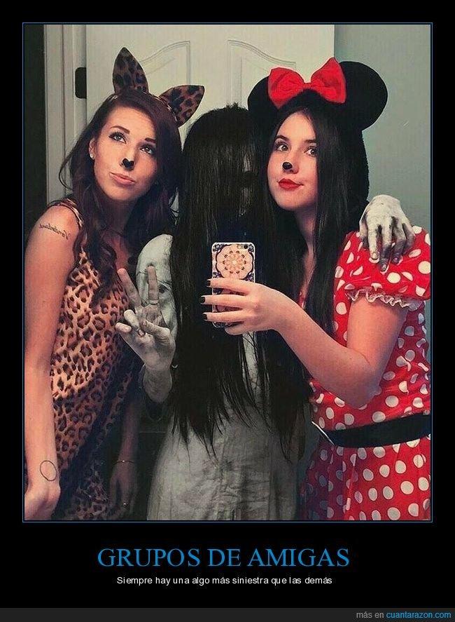 amigas,disfraces,minnie mouse,samara,the ring