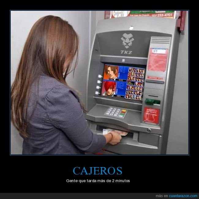 cajero,recreativa,tardar,videojuego