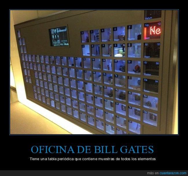 bill gates,elementos,oficina,tabla periódica