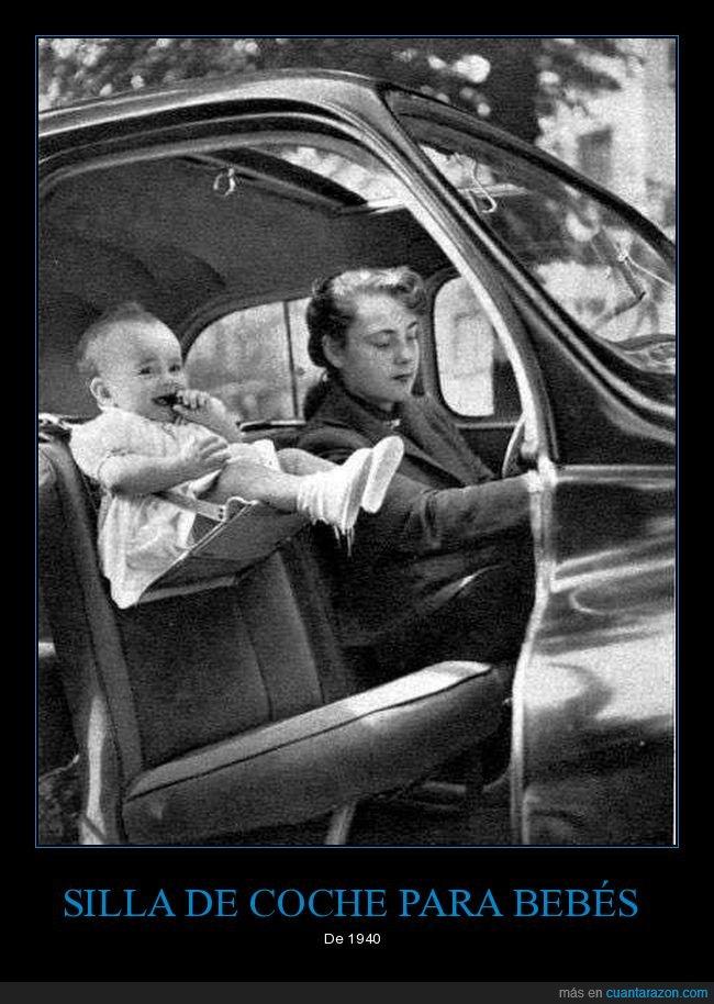 1940,bebés,coche,niños,retro,silla