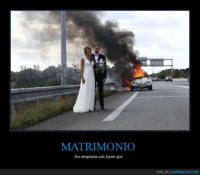 ardiendo,boda,coche,foto