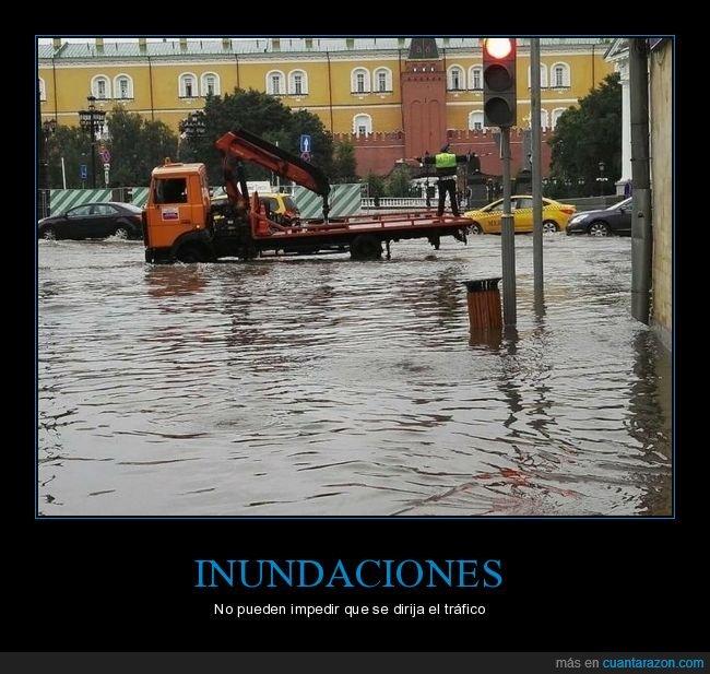 dirigiendo,inundación,policía,tráfico