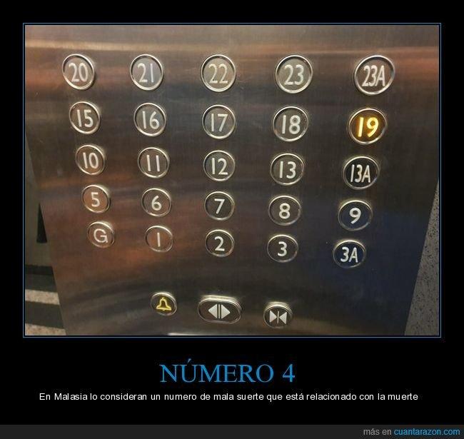 3a,4,ascensor,mala suerte,malasia,número