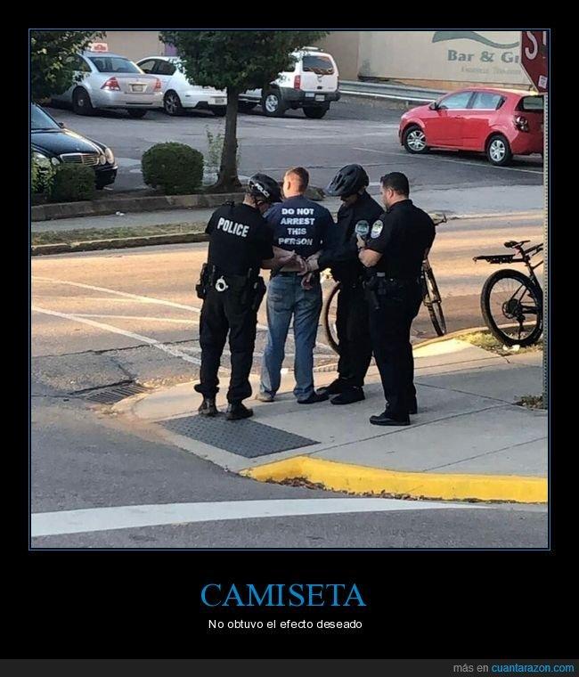 arrestar,camiseta,policía