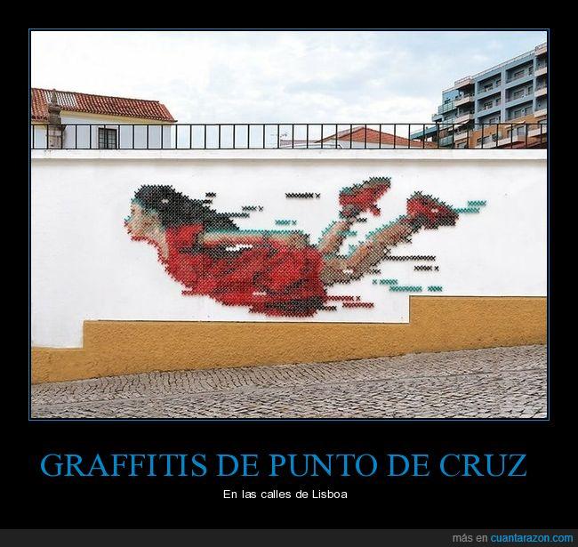 graffiti,lisboa,punto de cruz