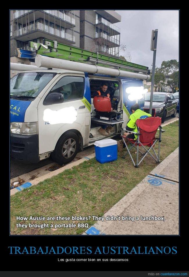 australianos,barbacoa,trabajadores