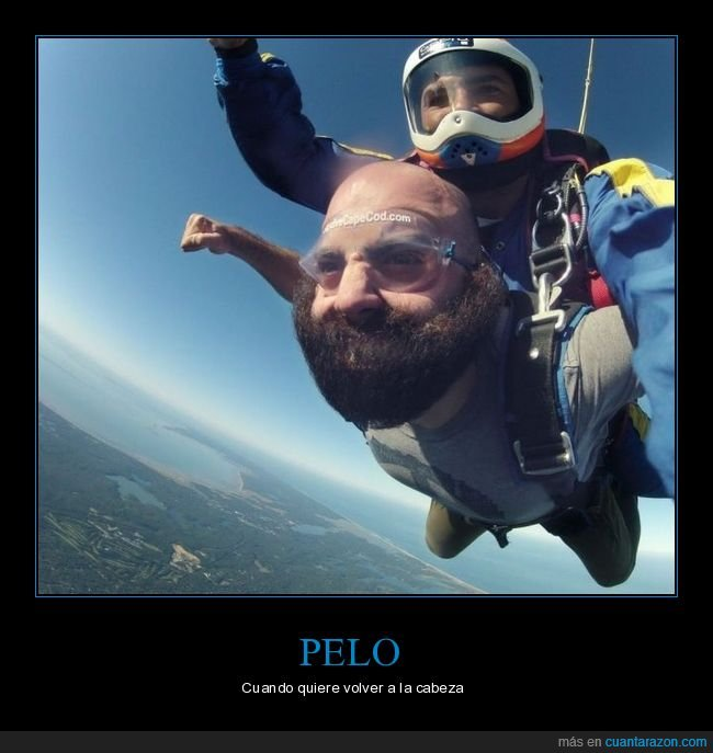 barba,cabeza,paracaídas,pelo,volver