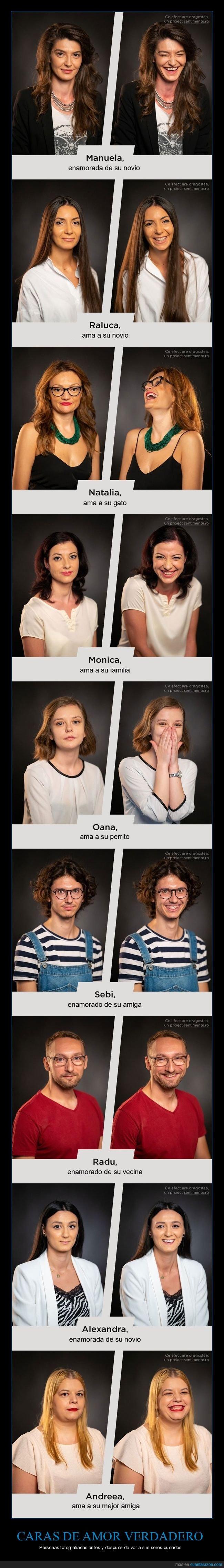 antes,caras,después,fotografía,seres queridos