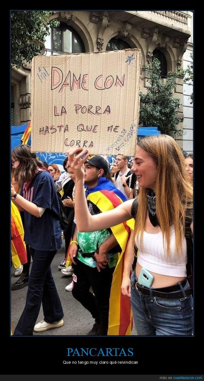 barcelona,cataluña,pancarta,porra
