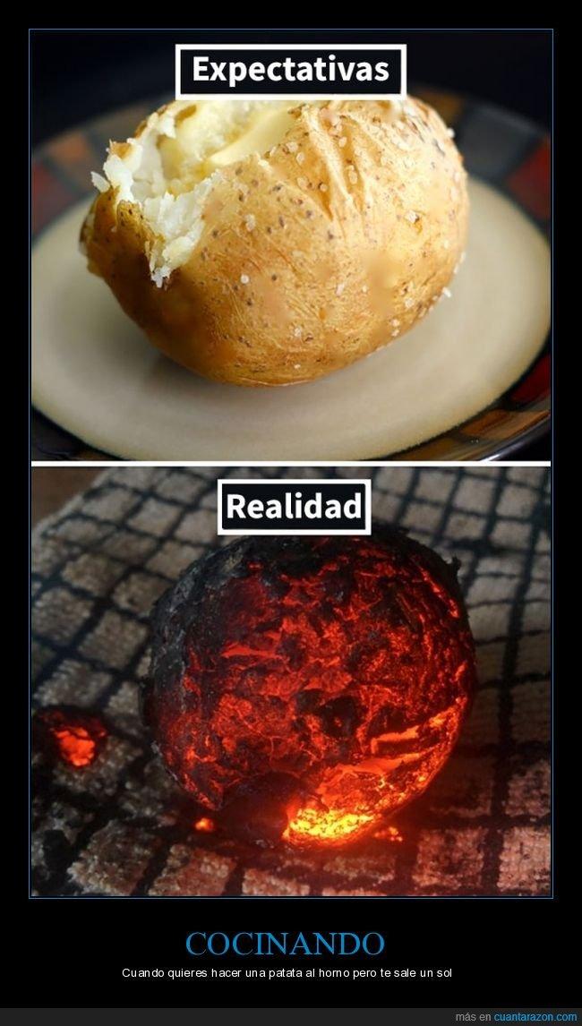 cocina,expectativas,patata,realidad,sol
