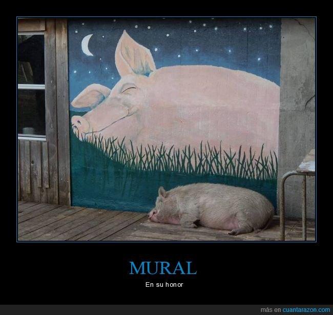 cerdo,durmiendo,mural