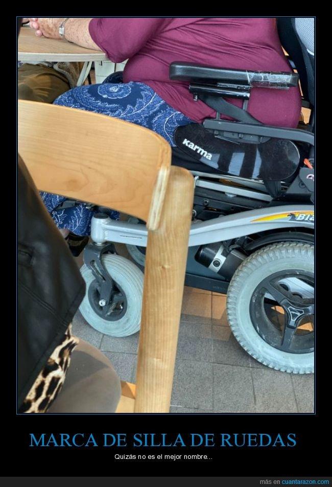 karma,marca,nombre,silla de ruedas,wtf
