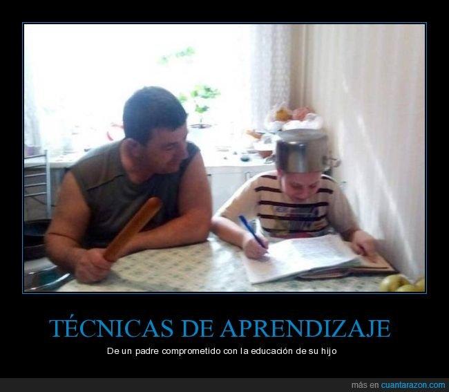estudiando,hijo,olla,padre