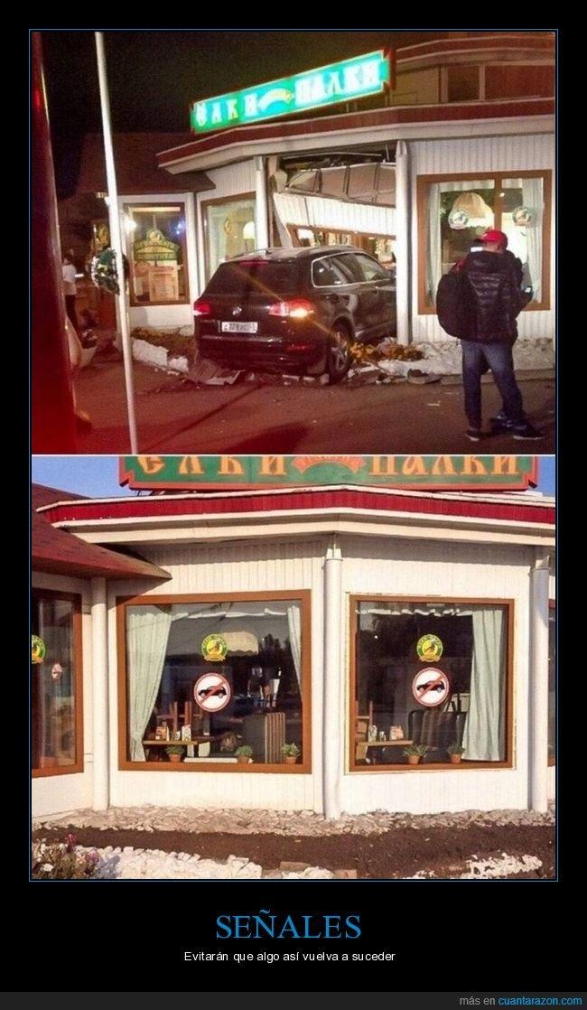 accidente,coche,restaurante,señales