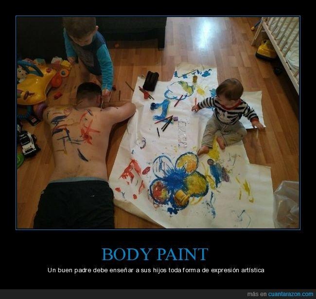 niños,padre,pintando