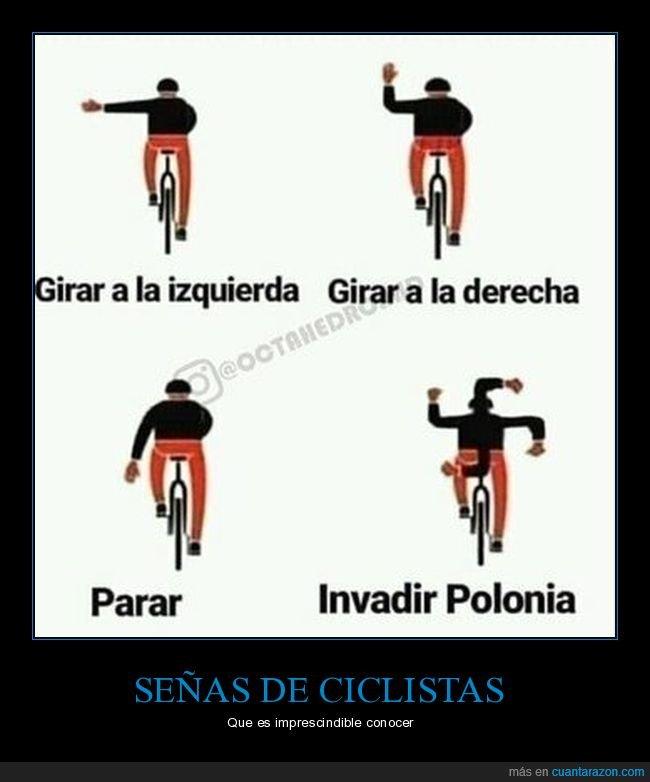 ciclistas,esvástica,polonia,señas