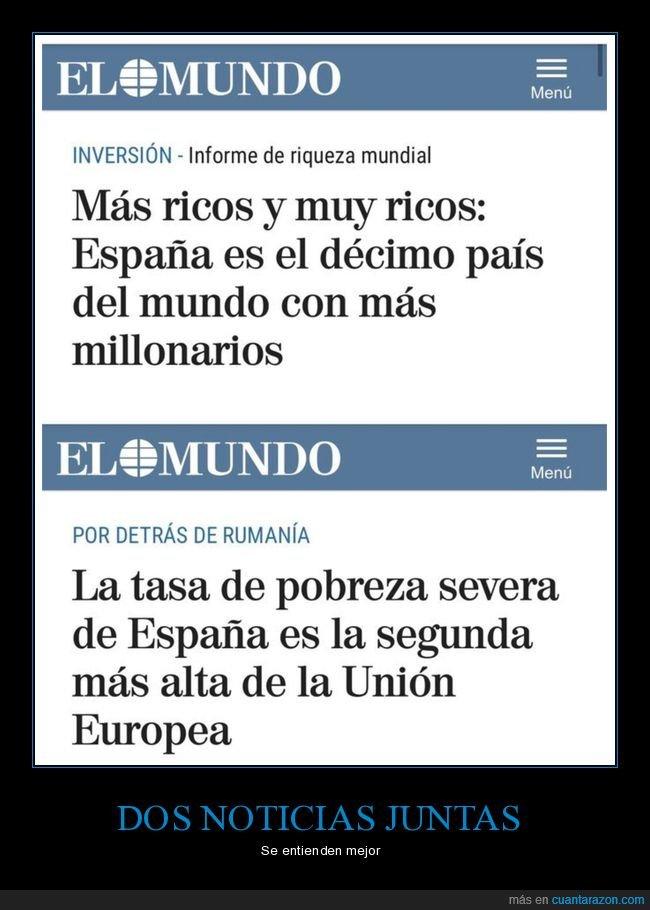 dos noticias,españa,millonarios,pobreza,ricos