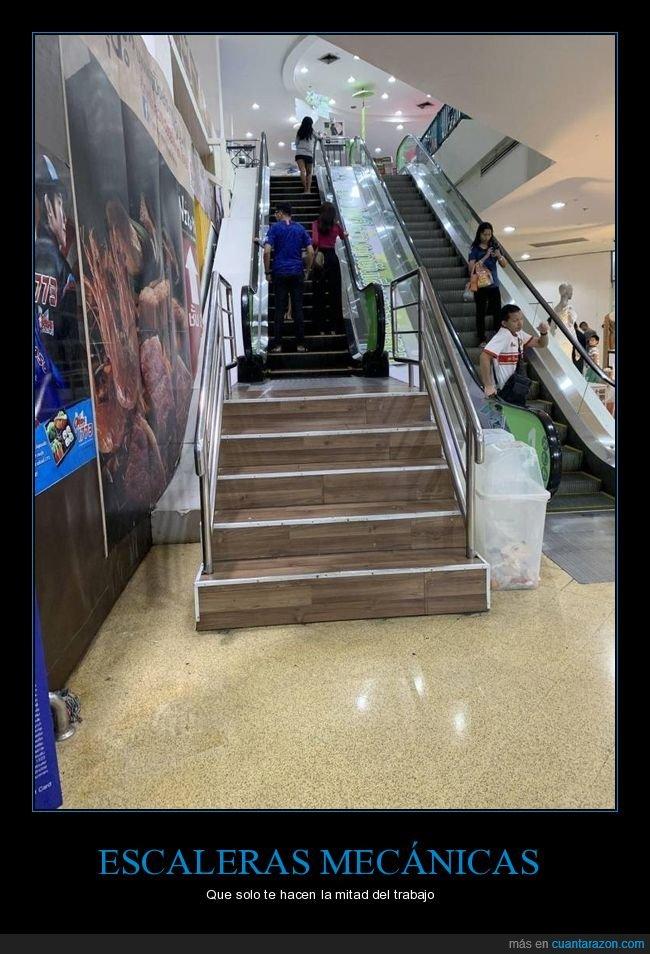 escaleras,escaleras mecánicas,mitad