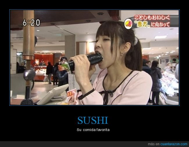 comiendo,sushi,wtf