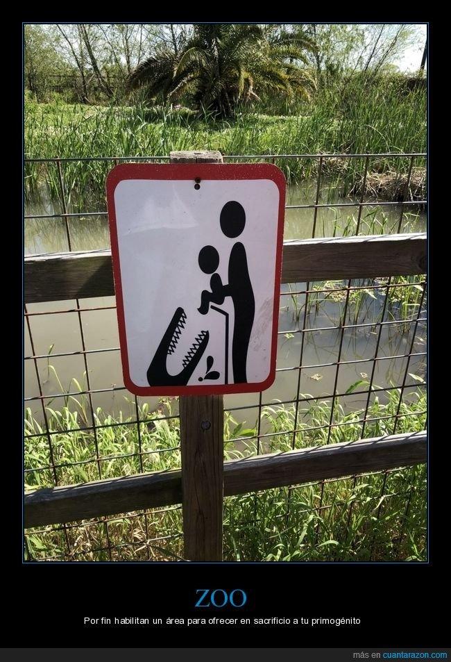 cartel,cocodrilo,niño,zoo