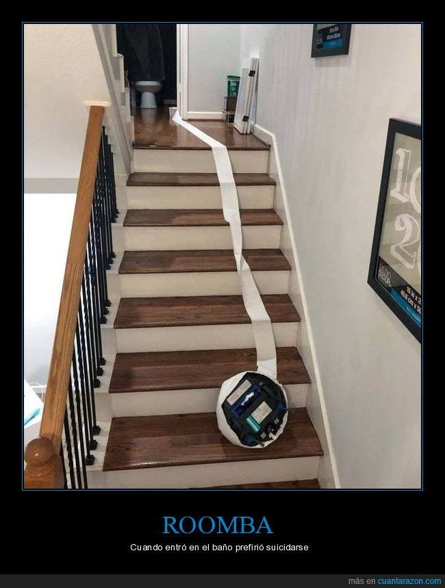 escaleras,papel higiénico,roomba