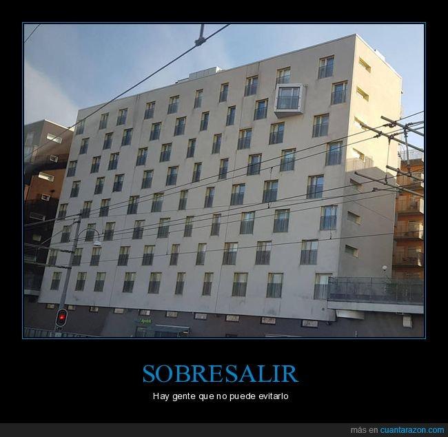 edificio,sobresaliendo,ventana