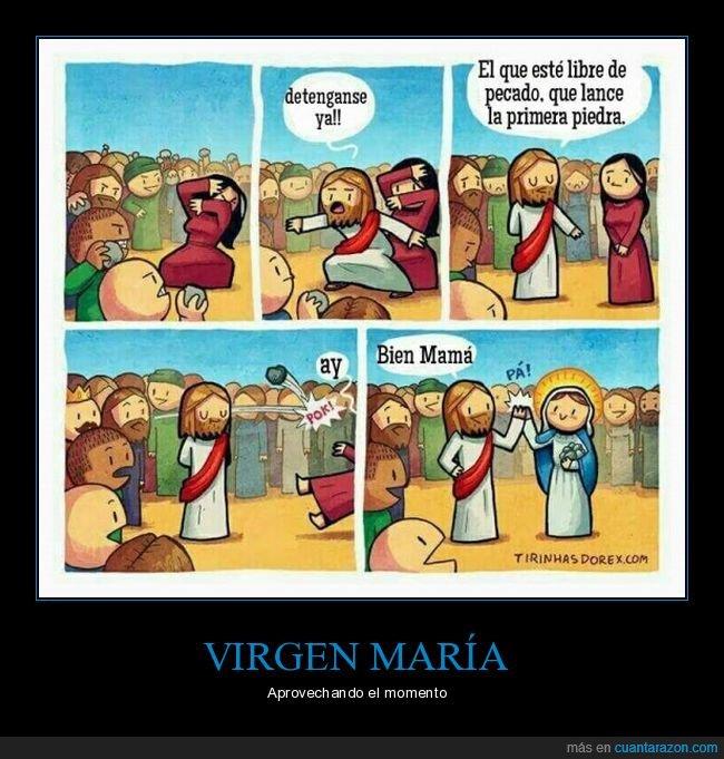 jesús,lanzar,libre de pecado,piedra,virgen maría