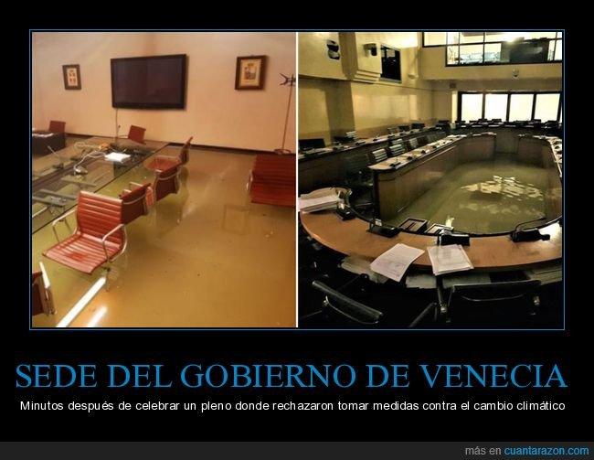 cambio climático,gobierno,pleno,políticos,sede,venecia