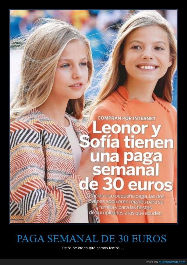 30 euros,leonor,paga,princesas,sofía
