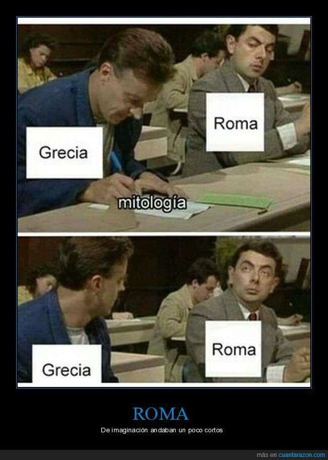 copiando,grecia,mitología,mr bean,roma