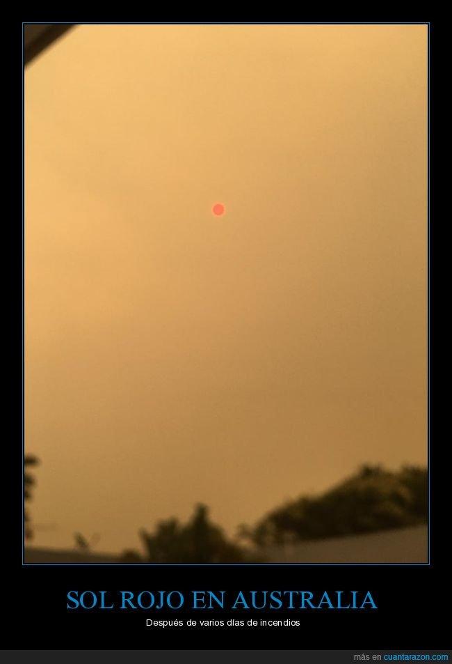 australia,incendios,rojo,sol