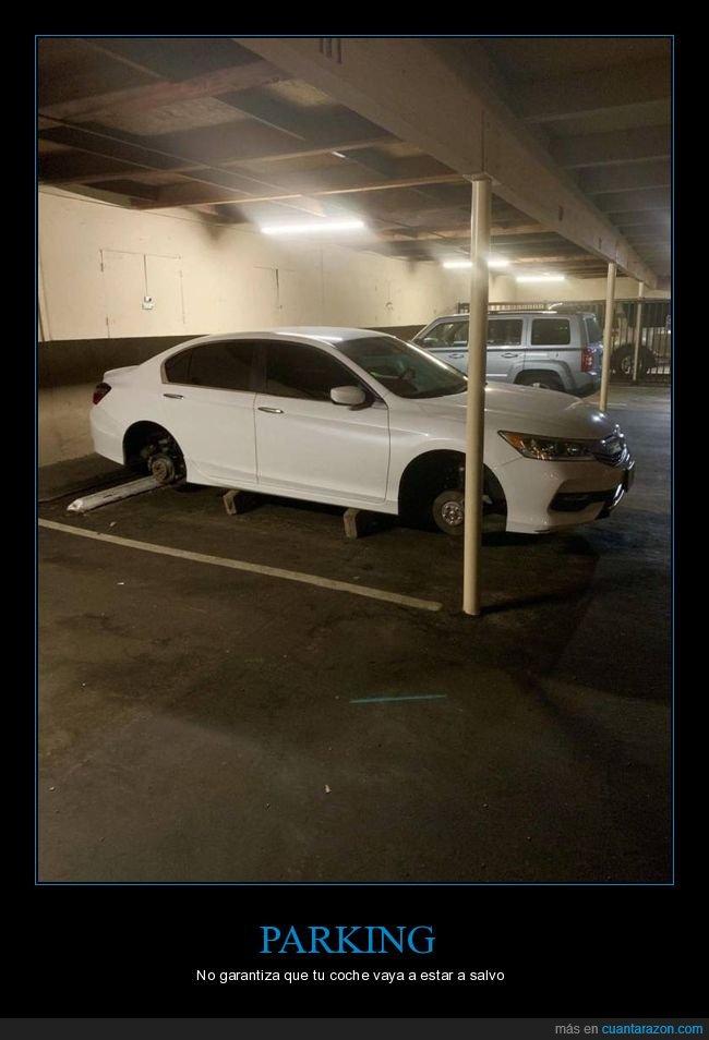 coche,parking,robo,ruedas