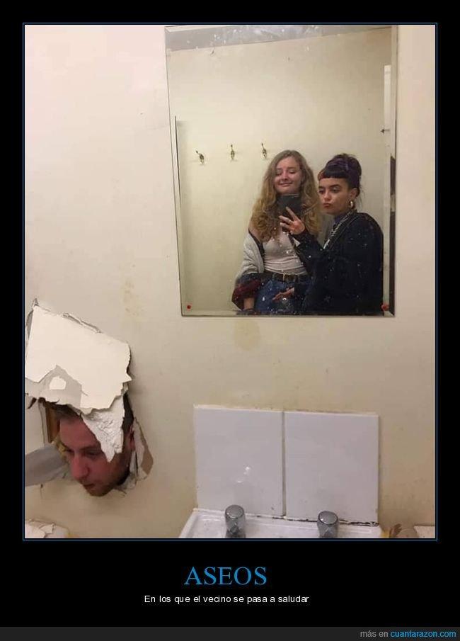 agujero,aseo,cabeza,pared,selfie,wtf