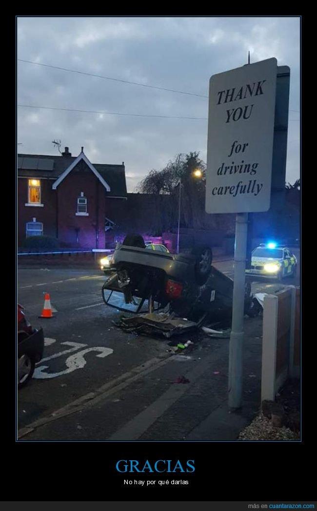 accidente,cartel,coche,fails,gracias