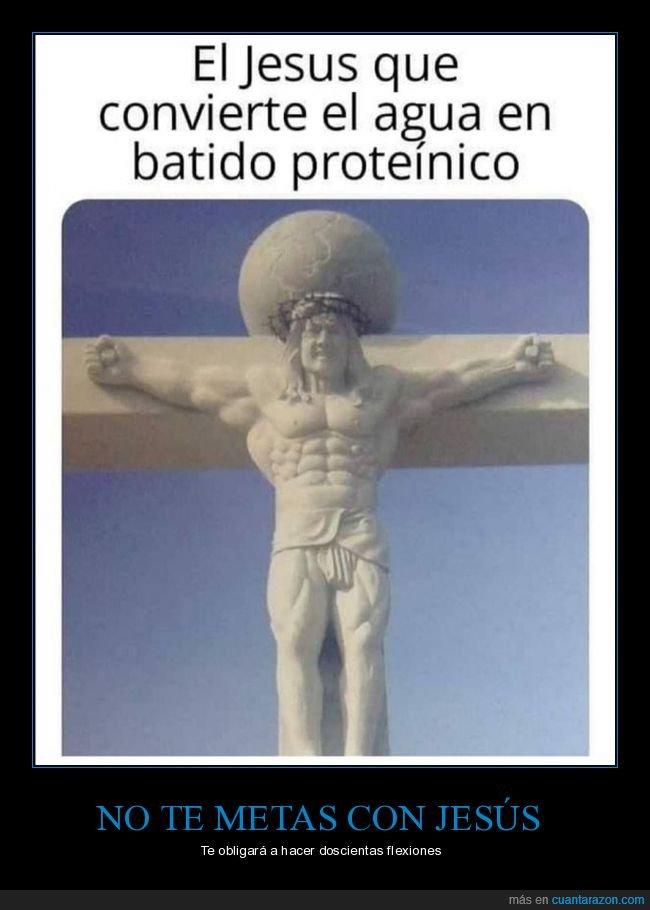 agua,batido de proteínas,convertir,jesús,musculoso