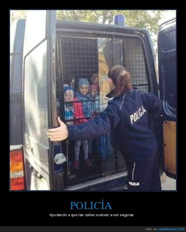detenidos,furgón,niño,niños,policía,wtf