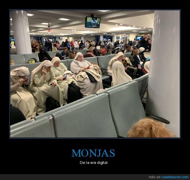 aeropuerto,monjas,móviles