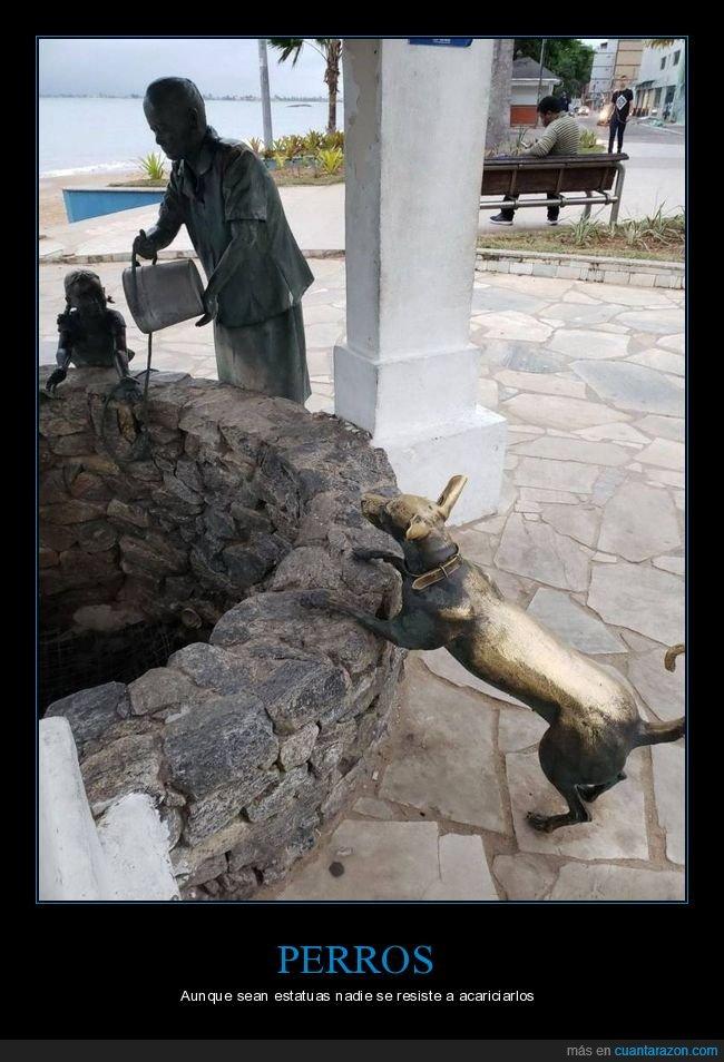acariciar,estatua,perro