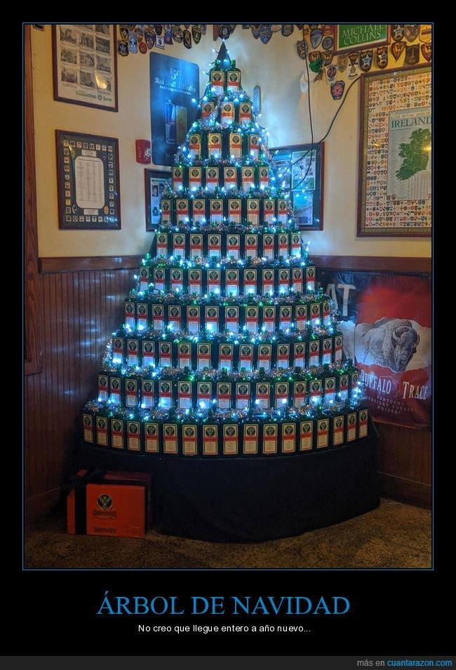 árbol de navidad,botellas,jägermeister