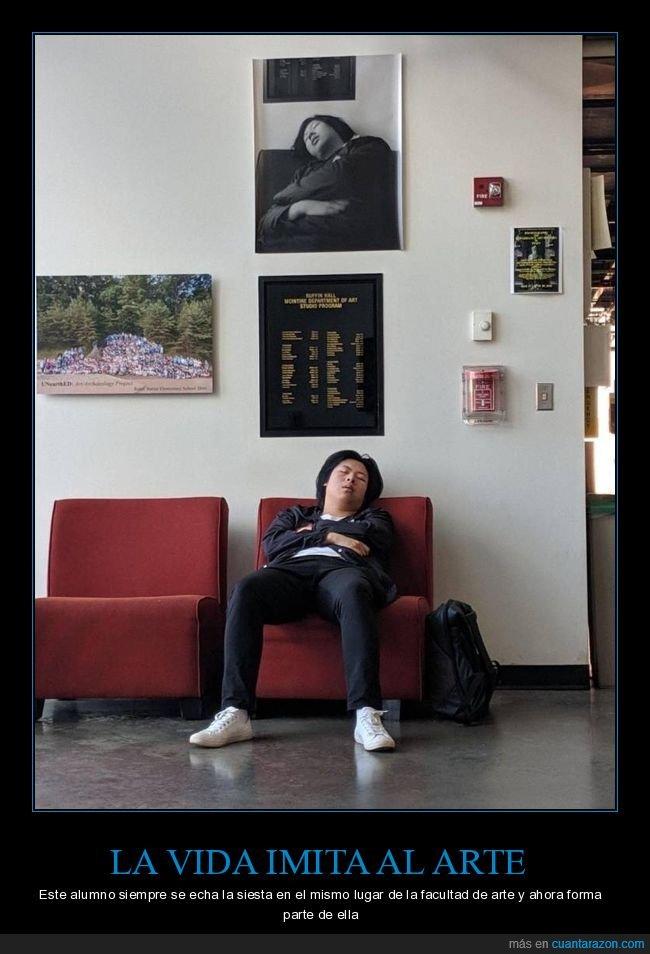 alumno,durmiendo,facultad de arte,foto,siesta