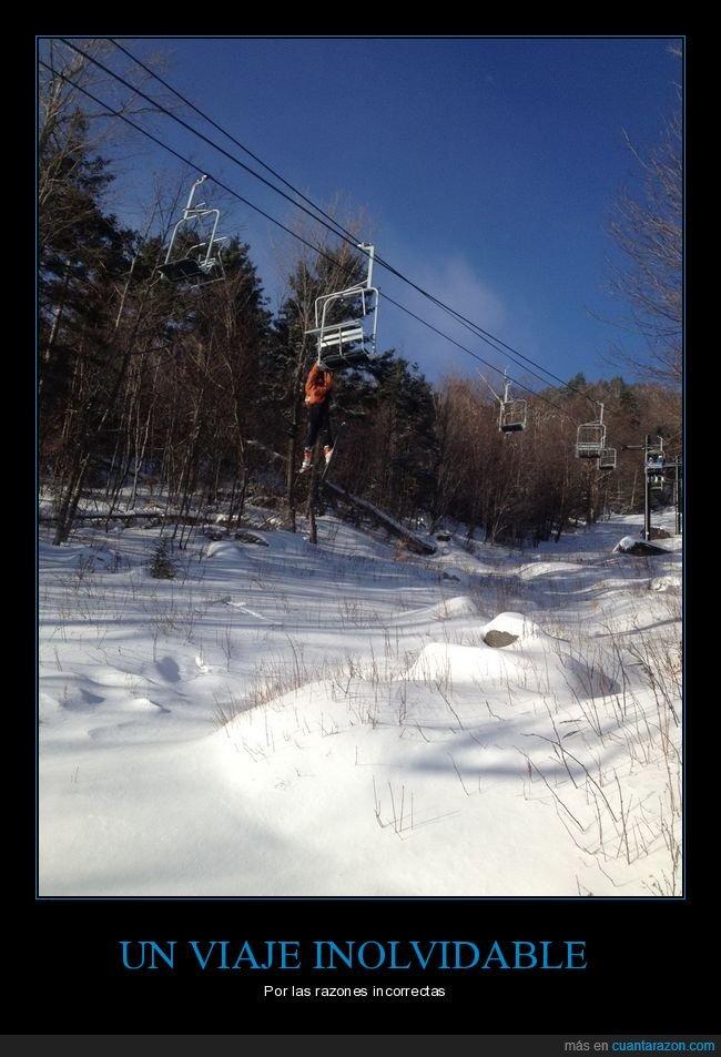 colgando,esquí,fails,nieve,telesilla