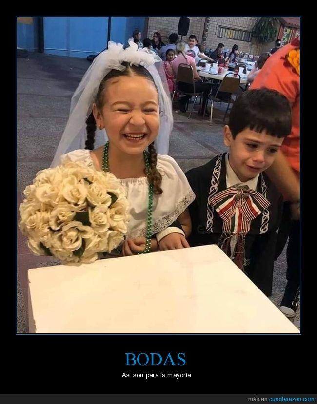 boda,contenta,llorando,niños