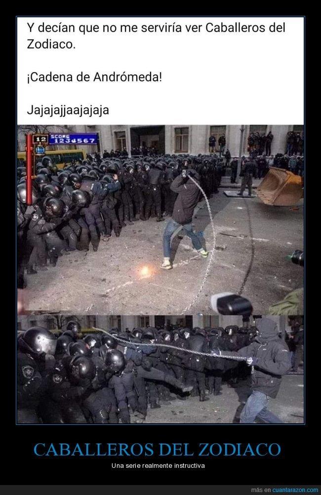 andrómeda,antidisturbios,caballeros del zodiaco,cadena,policía