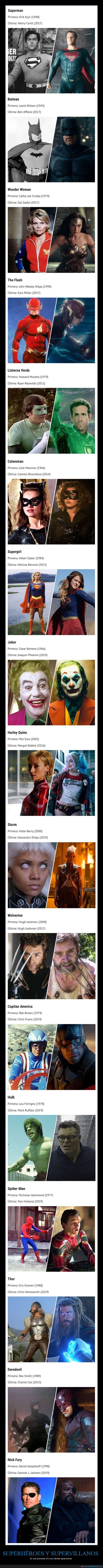 ahora,antes,apariciones,superhéroes,villanos
