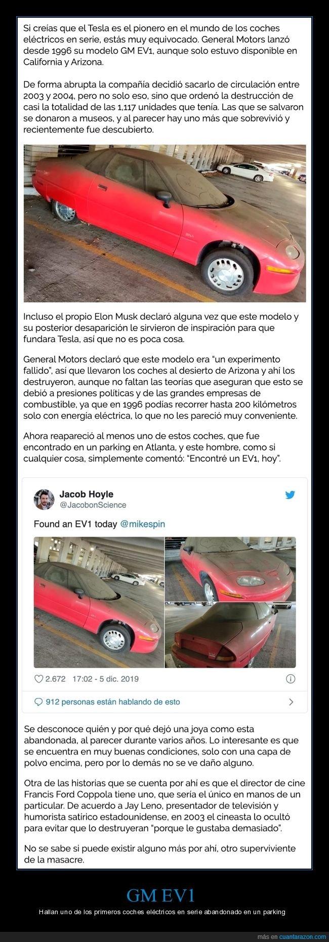 abandanoado,coche eléctrico,gm ev1