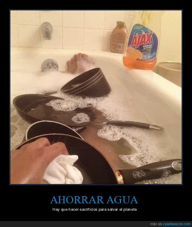 bañera,fregando,sartenes