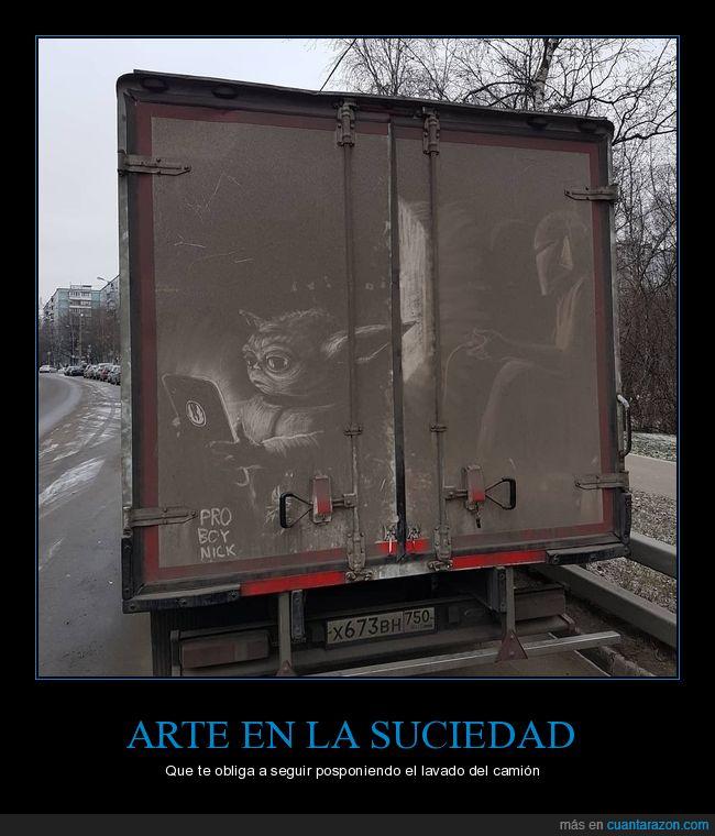 arte,baby yoda,camión,suciedad,the mandalorian