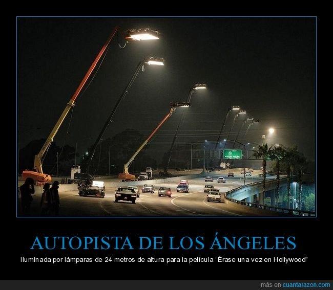 autopista,érase una vez en hollywood,iluminación,lámparas,los ángeles,rodaje