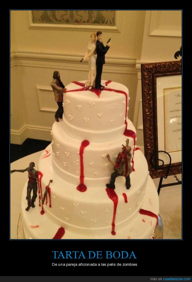 boda,pareja,tarta,zombies