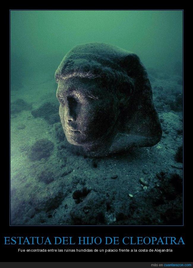 cleopatra,estatua,hijo,hundidas,ruinas